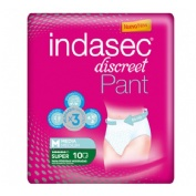 INDASEC PANT SUPER ABSORB INC ORINA DIA ANAT (T- MEDIA 10 U)